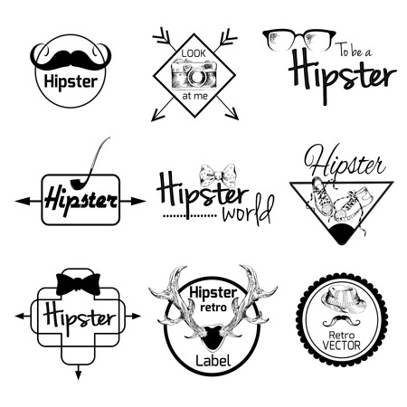 Hipster world pack sketch retro label set with smoking pipe mustache tie isolated vector illustration Vector