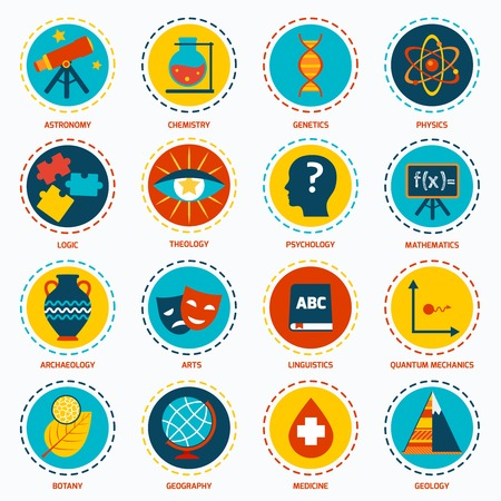 areas: Science areas icons set with astronomy chemistry genetics isolated vector illustration