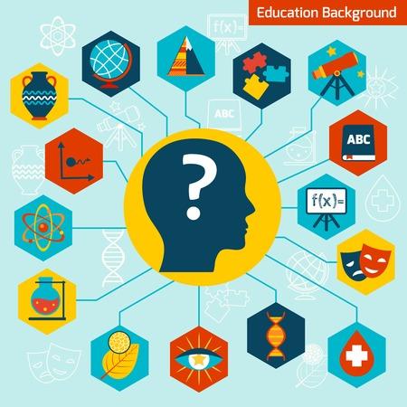 linguistics: Science areas symbols education background concept infographics vector illustration