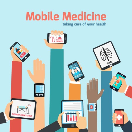 medicine icon: Mobile health concept with human hands holding gadgets vector illustration