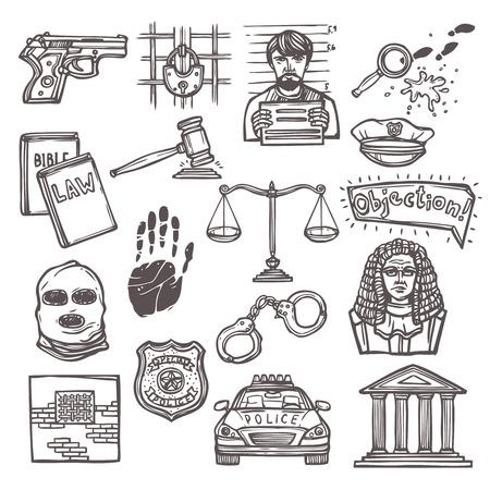 testigo: Boceto Ley de justicia y el icono de la legislaci�n establece aislado ilustraci�n vectorial