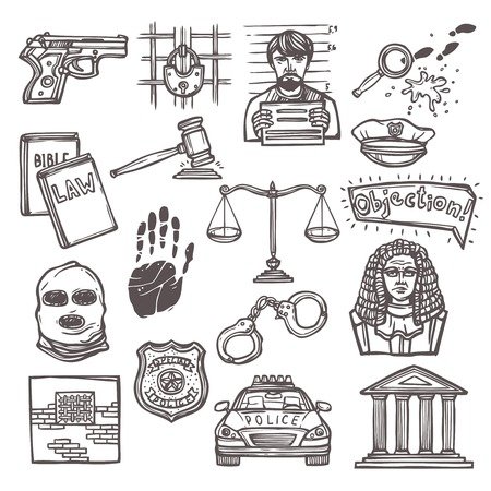 Law justice and legislation icon sketch set isolated vector illustration Vector