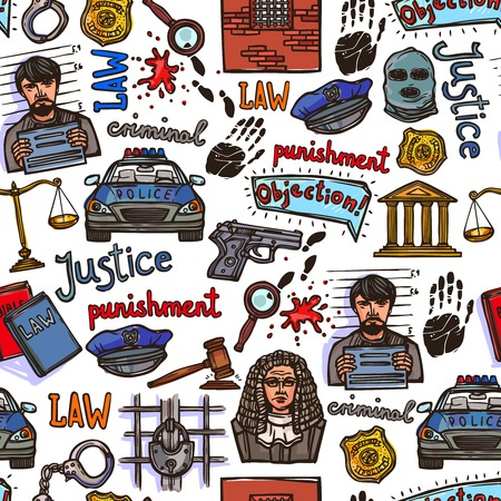 criminal lawyer: Law justice police and legislation icon color sketch seamless pattern vector illustration