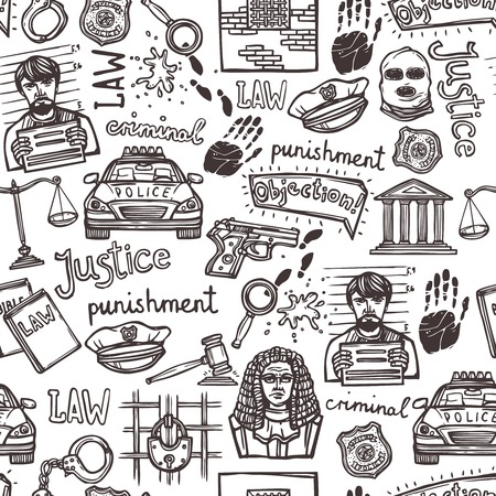 lawyer in court: Law justice police and criminal icons sketch seamless pattern vector illustration