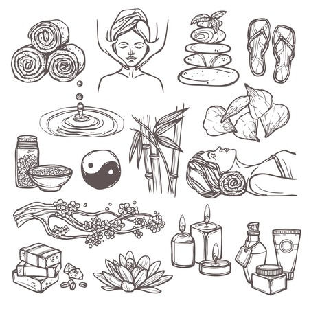 beauty care: Spa therapy beauty health care alternative medicine sketch icons set isolated vector illustration
