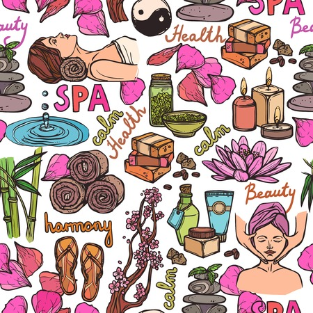 Spa therapy beauty health care wellness sketch color seamless pattern vector illustration Vector