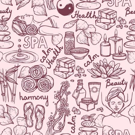 Spa therapy alternative medicine wellness sketch seamless pattern vector illustration. Vector