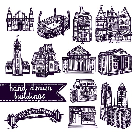 Sketch city building decorative icons set of cinema shop church isolated vector illustration Vector