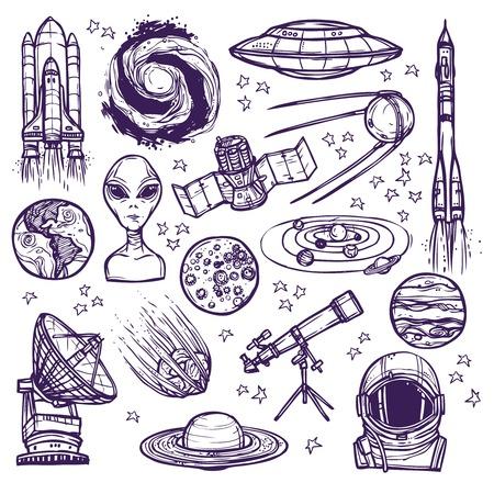 Espacio y astronomía bosquejo iconos decorativos conjunto de planetas alienígenas telescopio aislados ilustración vectorial