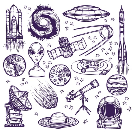 astronauts: Space and astronomy sketch decorative icons set of telescope alien planets isolated vector illustration