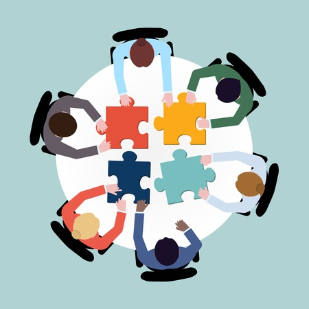 Business team meeting brainstorming concept top view group people on table with puzzle vector illustration Çizim