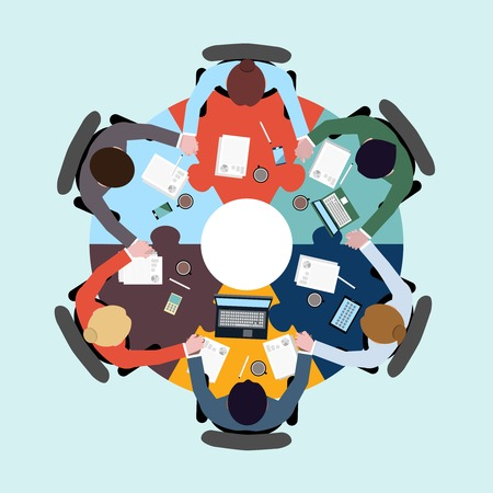 Business teamwork concept top view group people on table holding hands vector illustration Vector