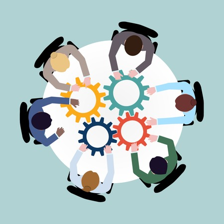 team business: Business team meeting cooperation concept top view group people on table with cogwheels vector illustration Illustration