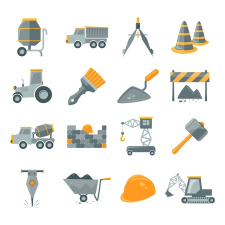 stone work: Construction and building equipment icons set isolated vector illustration