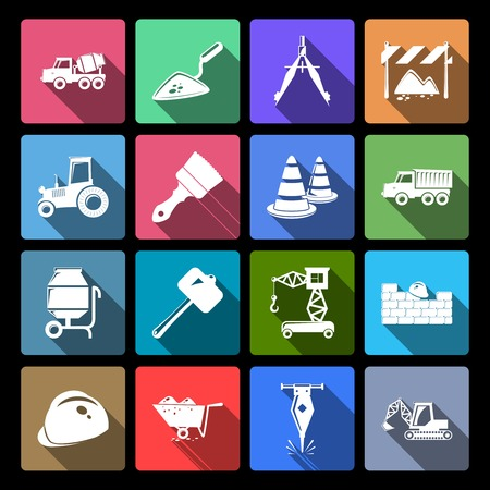 flat brush: Construction and building engineer industry flat icons set isolated vector illustration