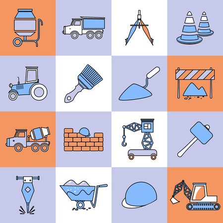 cement mixer: Construction tools industrial flat line web site icons set isolated vector illustration