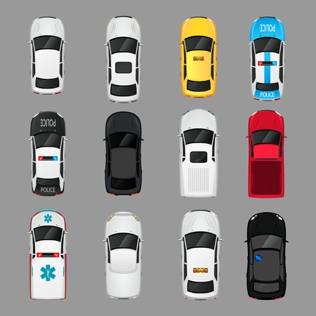 view: Cars transport top view icons set isolated vector illustration