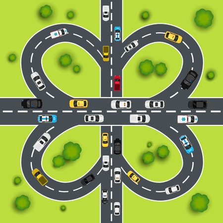 Highway traffic cloverleaf intersection top view background vector illustration Vector