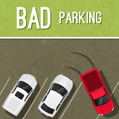 road block: Bad incorrect parking scene poster with red car vector illustration Illustration