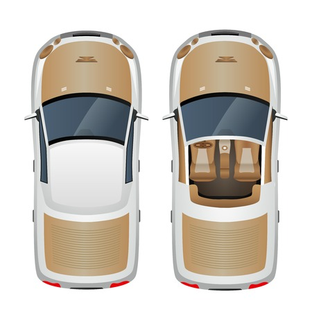 Cabriolet car with closed and open roof top view isolated vector illustration