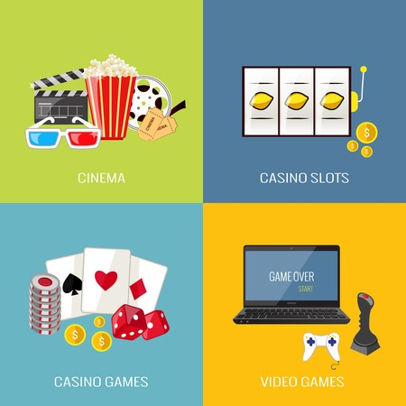 Leisure video sport and gambling casino games flat icons set isolated vector illustration Vector