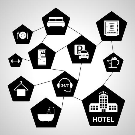 gym room: Cinco estrellas concepto de hotel con servicios de hex�gono negro iconos ilustraci�n vectorial