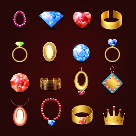 Jewelry icons set of diamond gold fashion expensive accessories isolated vector illustration Vector