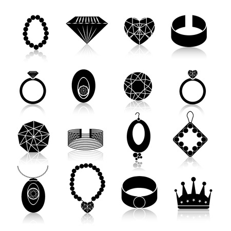 cuff links: Jewelry icons black set of fashion expensive gems and treasure accessories isolated vector illustration