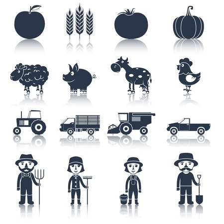 Farm agriculture crop and poultry black icons set isolated vector illustration. Vector
