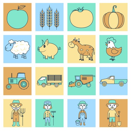 Farm agriculture farmer flat line business icons set isolated vector illustration Vector