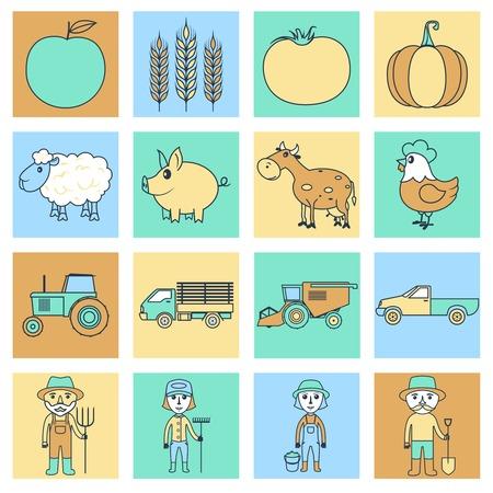 Farm agriculture farmer flat line business icons set isolated vector illustration Vector