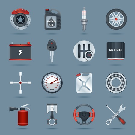 exhaust pipe: Car parts technology auto service icons set isolated vector illustration