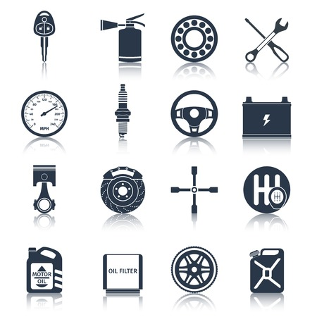 Car system parts technology automotive service black icons set isolated vector illustration