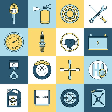 muffler: Car system vehicle parts technology auto repair service flat line icons set isolated vector illustration Illustration