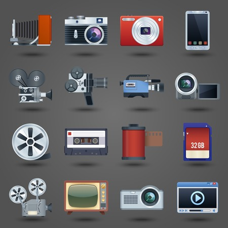 Photo video camera and multimedia equipment set isolated vector illustration
