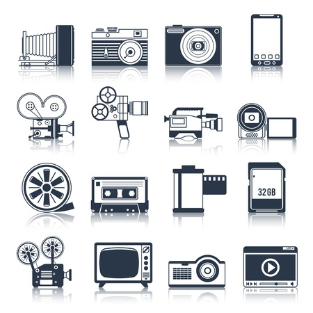 professional equipment: Photo video camera and multimedia professional equipment black icons set isolated vector illustration