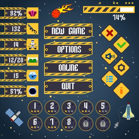 Space arcade adventure game menu interface layout template vector illustration
