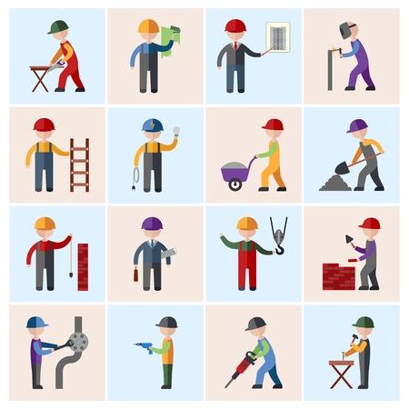 Bouwvakker mensen silhouetten pictogrammen platte set geïsoleerd vector illustratie