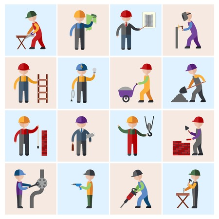 men at work sign: Construction worker people silhouettes icons flat set isolated vector illustration