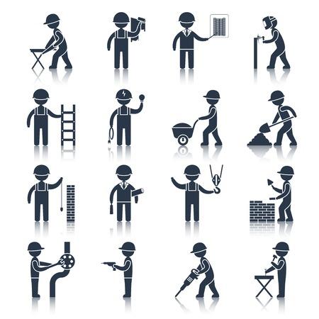 Bouwvakker mensen silhouetten pictogrammen zwart set geïsoleerd vector illustratie