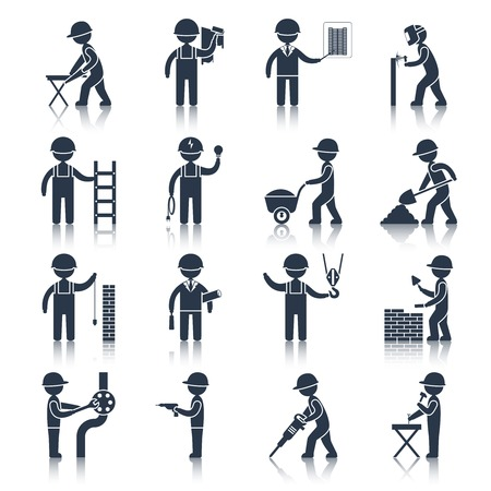 welding worker: Construction worker people silhouettes icons black set isolated vector illustration Illustration