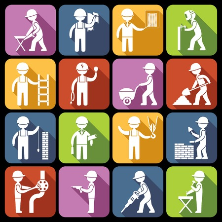 Construction worker repairman mechanic silhouettes icons white set isolated vector illustration