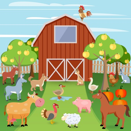 Summer farm with wooden house and domestic animals vector illustration Vector