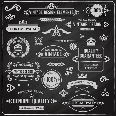 Vintage design elements frames and ornaments chalkboard decorative set isolated vector illustration Illustration