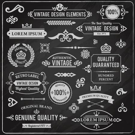 Vintage design elements frames and ornaments chalkboard decorative set isolated vector illustration Ilustração