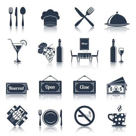 negocios comida: Restaurante de cocina de alimentos iconos negros fijaron con cuchillo tenedor placa ilustraci�n vectorial