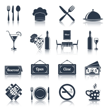Restaurant food kitchen black icons set with knife fork plate isolated vector illustration