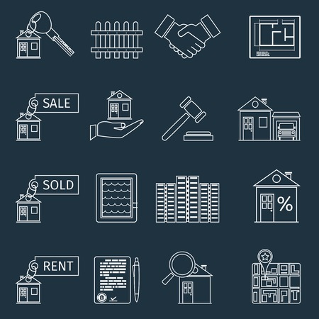 commercial real estate: Real estate outline icons set of house apartment and commercial property isolated vector illustration
