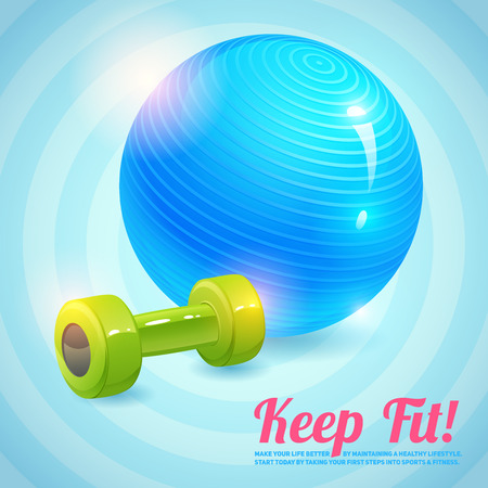 Healthy lifestyle background with gym ball and dumbbells keep fit background vector illustration Vector