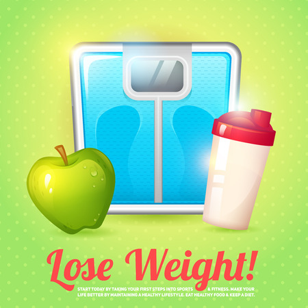Lose weight diet body balance poster with scales apple and protein shake vector illustration 向量圖像